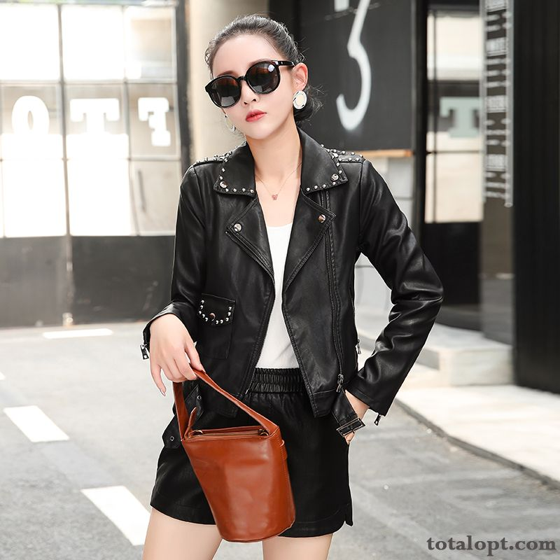 Elegant Big Lapel Trend All-match Personality Short Leather Simple Black Fashion Comfortable Coat Darkgray Purple