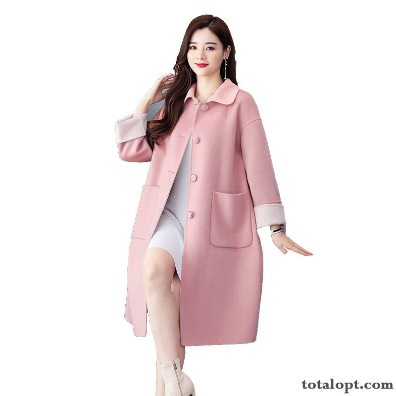 Elegant Woolen Single Row Button Trend Comfortable Coat Long Sleeves Pink Autumn Fashion Darkviolet Turquoise