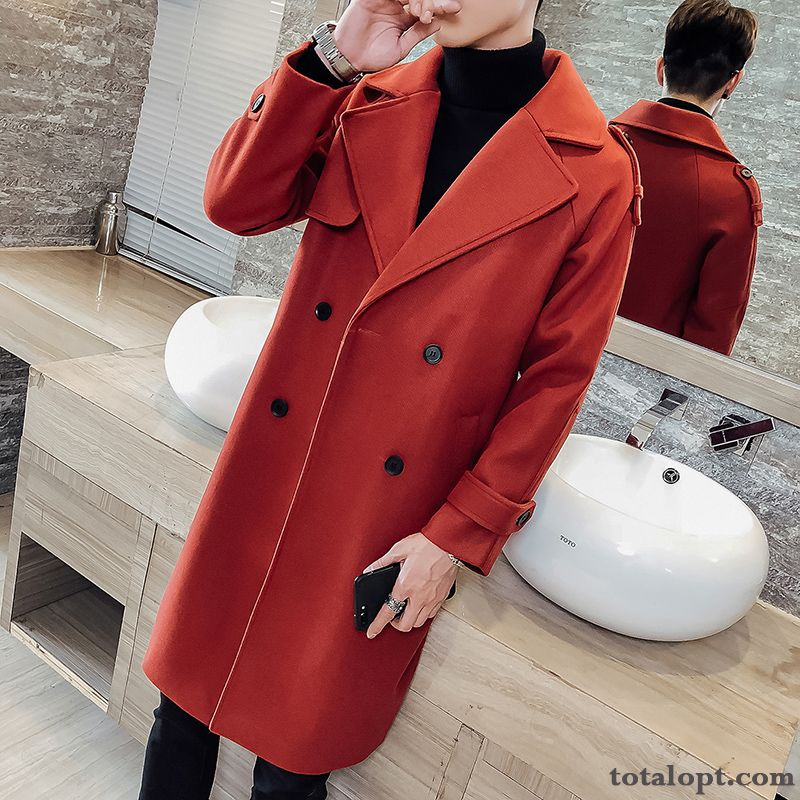 England New Autumn Trend Thickening Coat Cotton Red Winter Overcoat Men's Woolen Long Royalblue Pale Purple