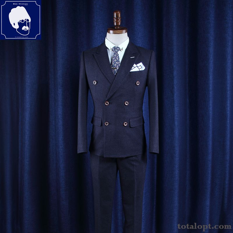 England Sort Buttons Men's Suit Wedding Europe Stripes Slim Rosybrown Iridescent