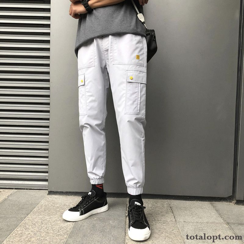 Europe All-match Pants Skinny Trend Men's Summer Leisure Tooling Gray Slim Turquoise Blue Snow-white