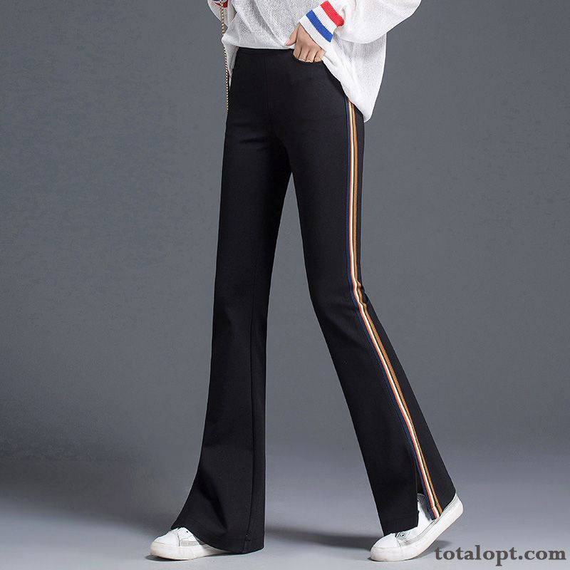 Europe Bell-bottoms New Thin Trousers Women's Autumn Sport Pants Elastic Black Slightly High Waist Loose Leisure Palegreen Smoky Gray