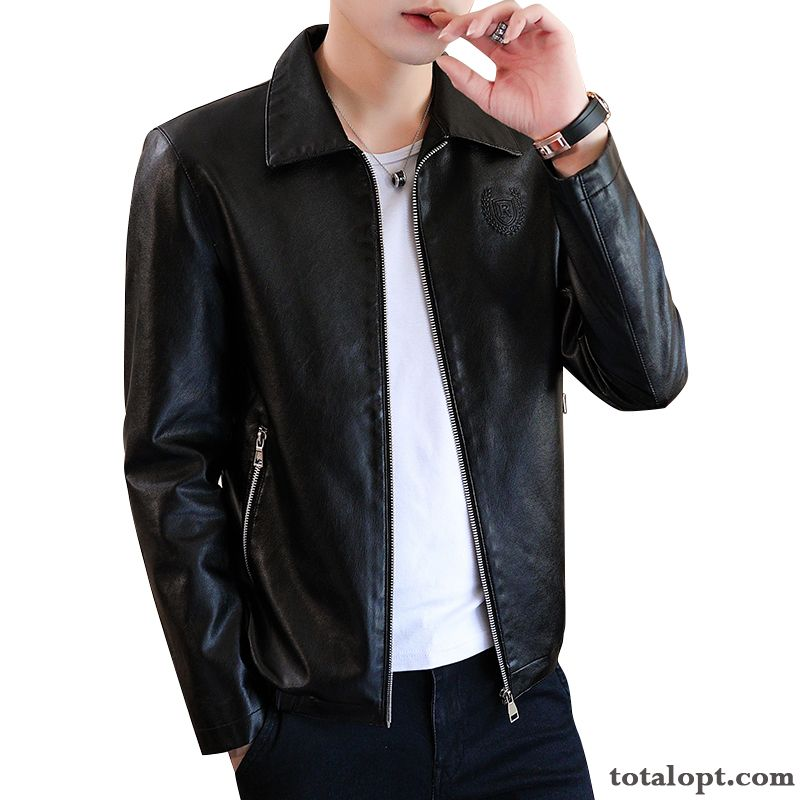 Europe Coat Black Spring Winter Clothes Jacket Trend New Men's Leather Personality Slim Autumn Pink Bisque