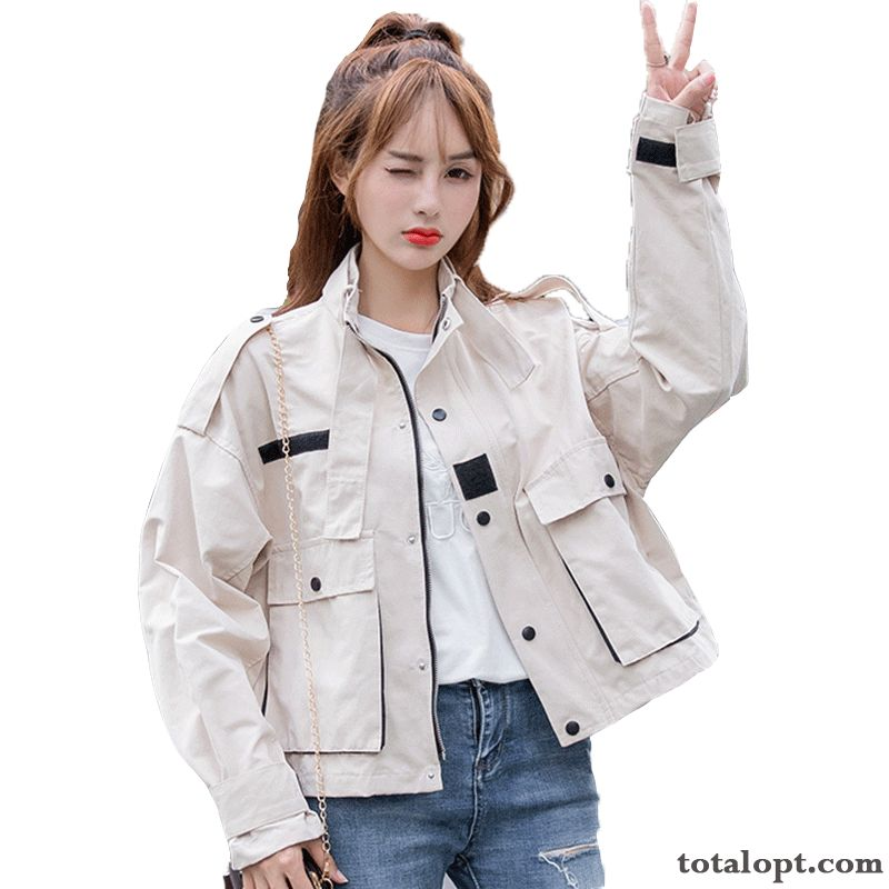 Europe Fashion Short New Loose Women's Student All-match Tooling Autumn Jacket Coat Gray Khaki Sale