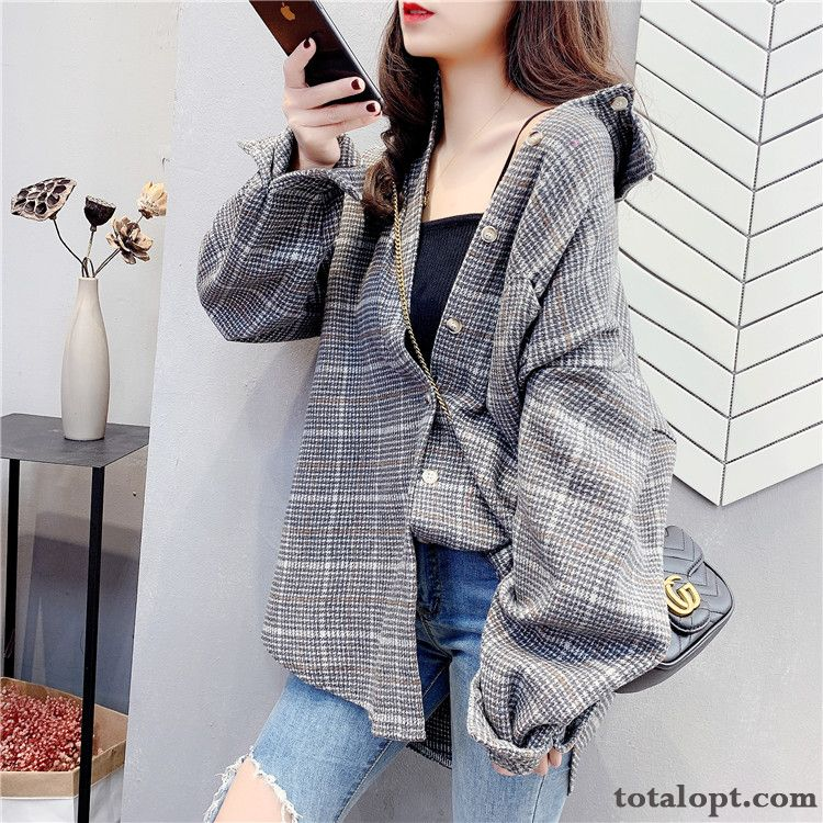 Europe Lady Loose Design Stripes Retro Spring Coat New Gray Checks Shirt Saddlebrown White