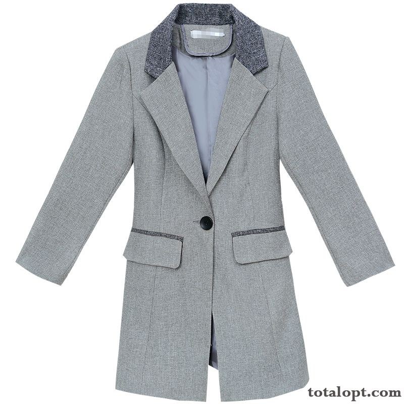 Europe Long Section Suit Trend Coat Women's Loose Spring All-match New Gray Mauve Cherry