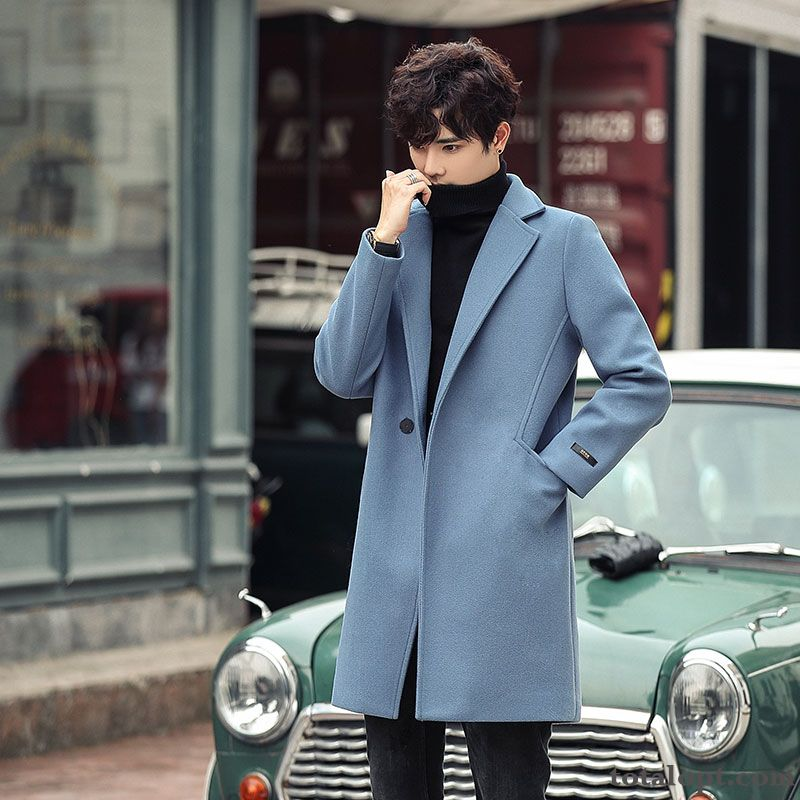 Europe Loose Autumn New Cashmere Coat Woolen Men's Blue Long Section Winter Popular Overcoat Silver White Maroon Discount