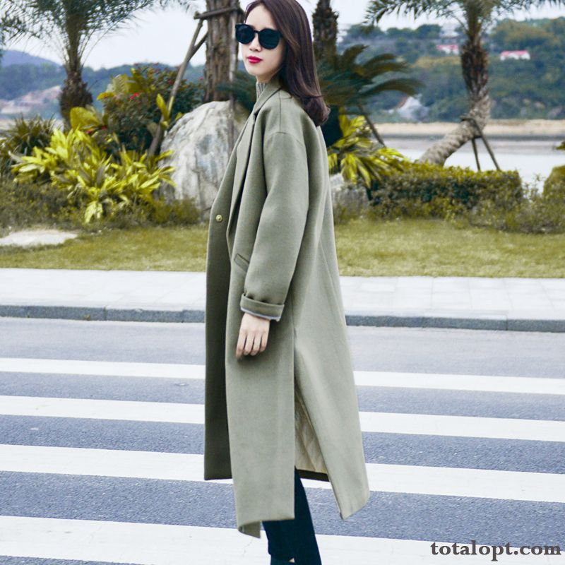 Europe Loose Thin Woolen Autumn Overcoat New Women's Suit Long Section Winter Pansy Smoky Gray Discount