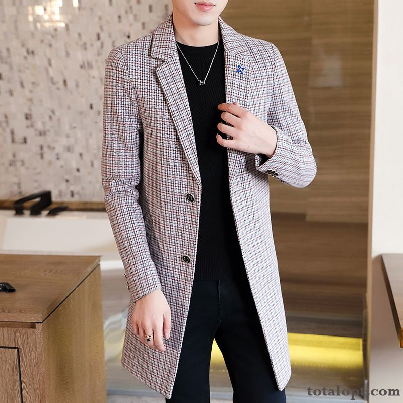 Europe New Spring Autumn Overcoat Pink Trend Slim Men's Long Section Pink Snow Discount