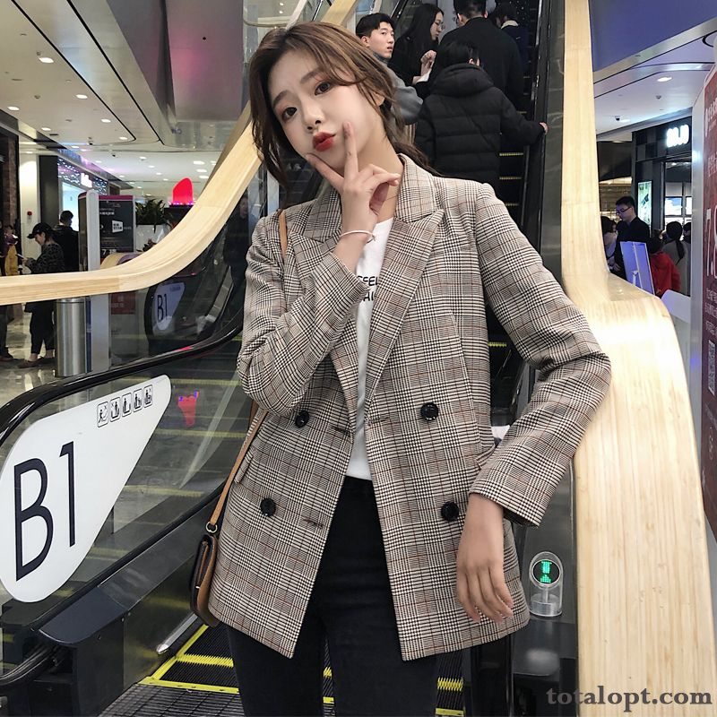 Europe New Suit Leisure Thin Retro Checks Spring Autumn Women's Blazer Red Coat Paleturquoise Shocking Pink Sale