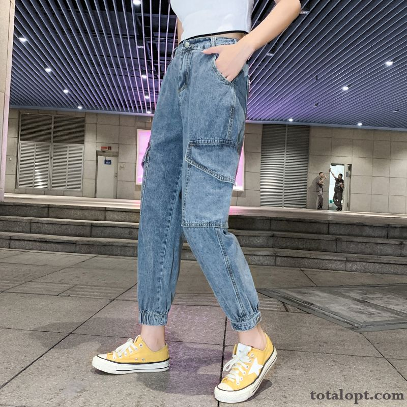 Europe Ninth Pants Blue Jeans Harlan Autumn Loose Women's New Powderblue Khaki