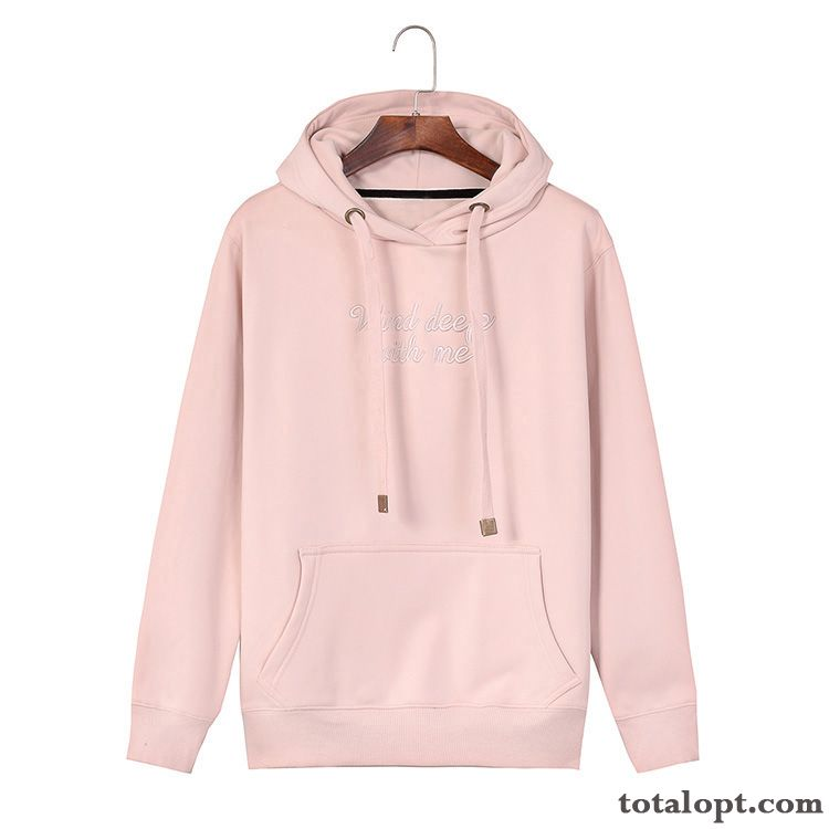 Europe Skinny Hoodies Plus Velvet Pullovers Women's Loose Pink Pure Cotton Coat Spring Autumn New Hooded Letter Navy Blue Pearl White For Sale