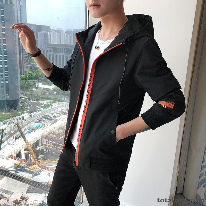 Europe Spring Slim Trend Coat Men's Personality Autumn Jacket Hooded New Black Wheat Coral