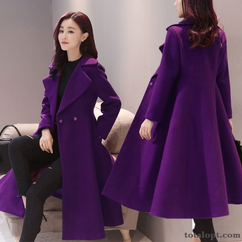 Europe Thickening Woolen Autumn Winter New A Letter Overcoat Women's Long Section Slim Cyan Palegreen Online