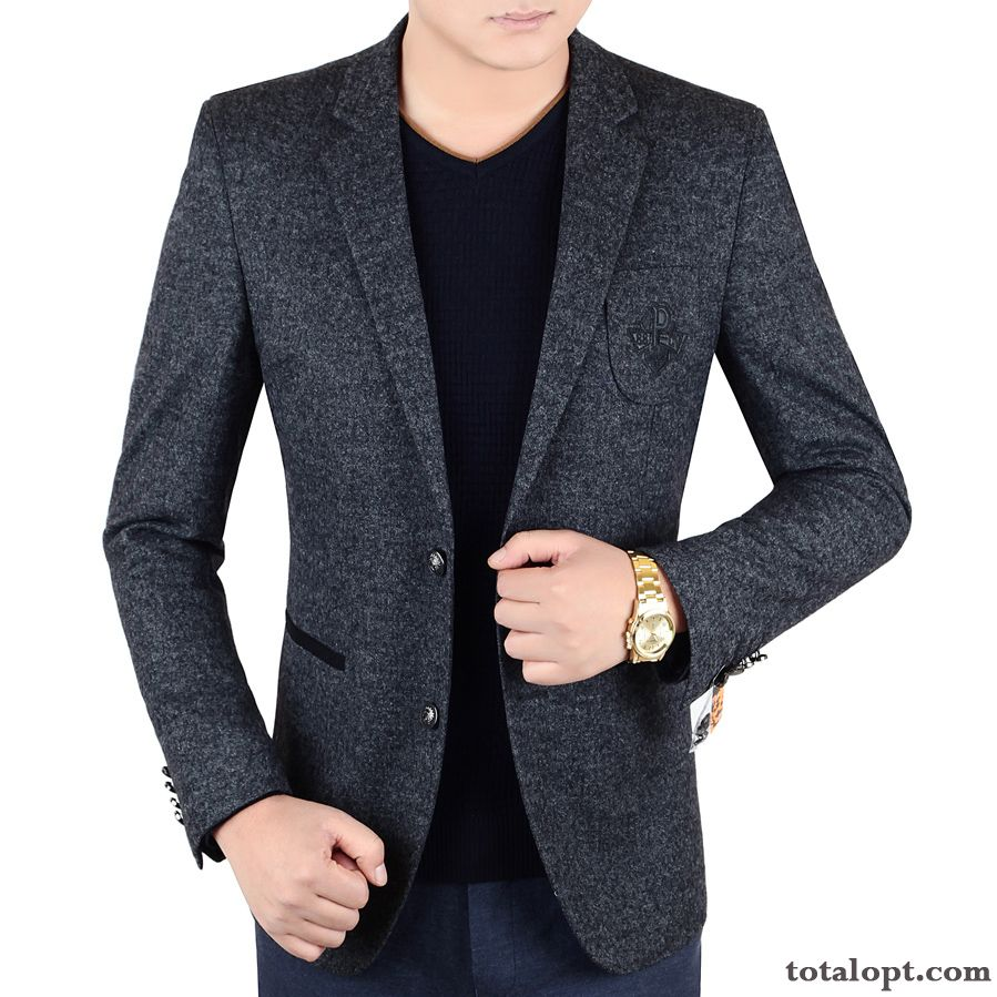 Europe Trend Autumn Coat Fashion Suit Men's Jacket Winter Slim Youth New Leisure Seagreen Salmon