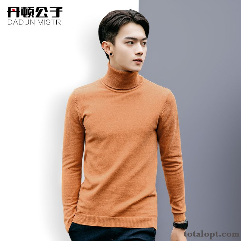 Europe Trend Slim Men's Youth Sweater Round Neck Knitwear Sweater Simple Pure Pullovers Lemon Pink