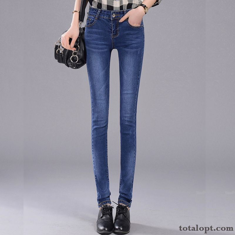 Europe Trousers Skinny Tight Student Spring Thin Summer Women's Dark Blue Elasticity Jeans All-match Snow-white Ocean Blue