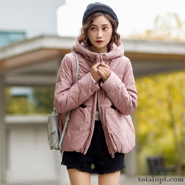 Fashion Long Sleeves Long Section Down Jacket Winter Loose Red Trend Comfortable Pink Elegant Greenyellow Maize Discount
