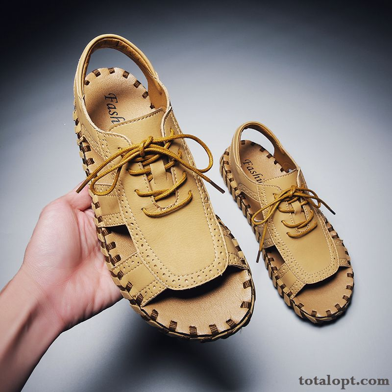 Fashion Rome Sandals New Outwear Trend Men's All-match Summer Youth Personality Soft Sole Brown Baby Pink Gray