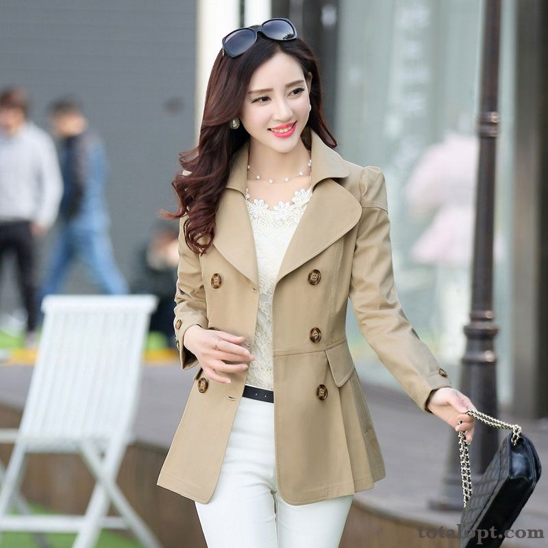 Fashion Slim Europe Spring Coat Large Size Long Section Thin New Temperament Women's Sort Buttons Autumn Snow-white Rose Violet