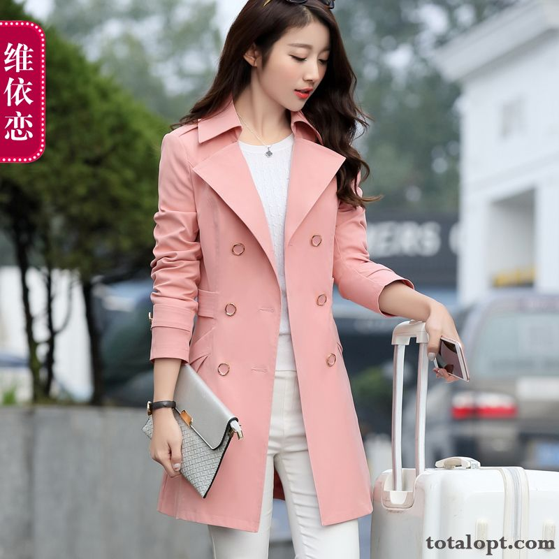 Fashion Sort Buttons Spring Thin Women's Coat Europe Autumn Long Section Slim Olive Green Azure