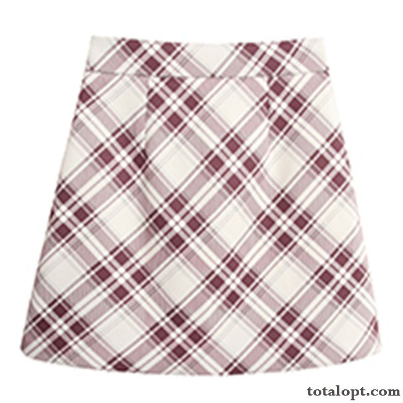 Fresh New Short Skirts Red Spring Checks Fashion Ultra High Waist Grape Silver White