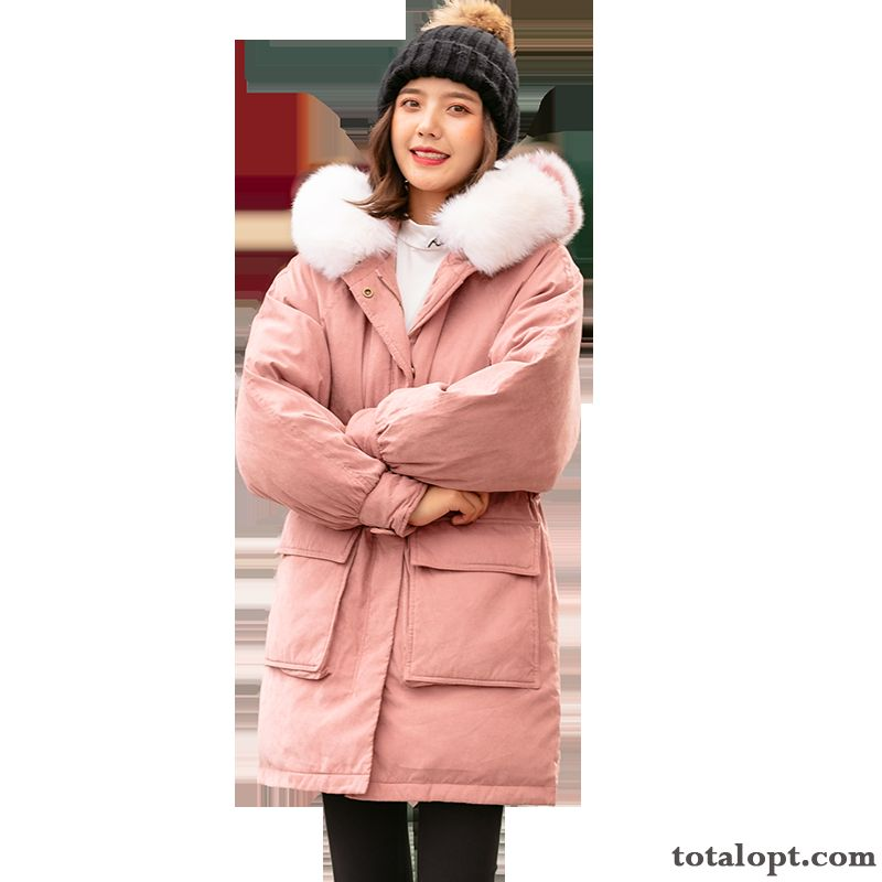 Fur Collar Pure Warm Thickening Down Jacket Pink Comfortable Long Section Fashion Winter Zipper Leisure City Hooded Pocket Gold Lilac Discount