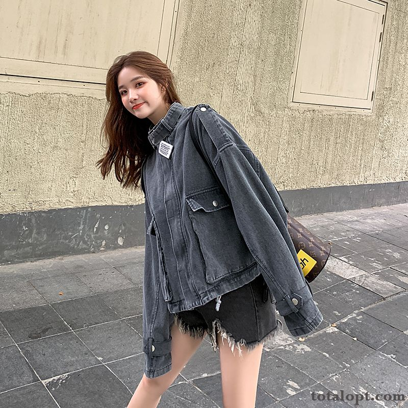 Gray Jacket Student Tooling Coat Loose Trend Leisure Women's Short Europe Autumn Snow Antique Violet