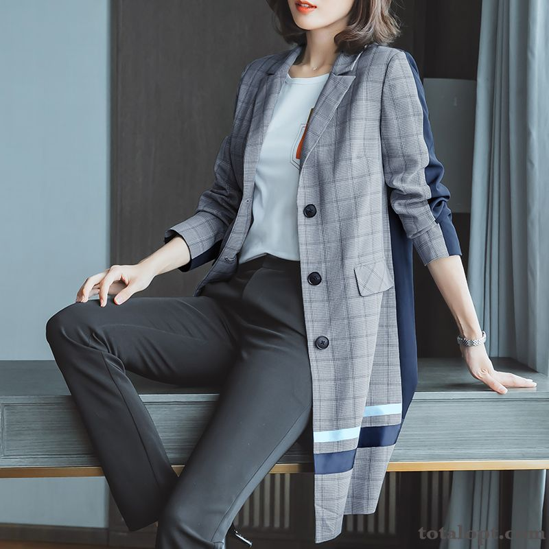 Gray Lady Long Section Checks Europe New Women's Suit Trend Autumn Professional Overcoat Long Sleeves White Cream