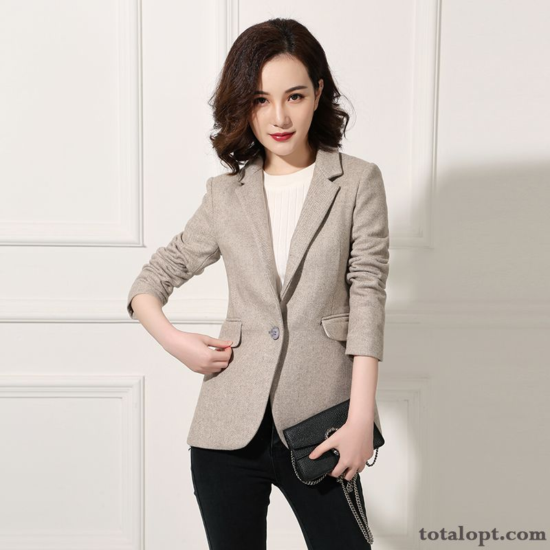 Gray Wool Short Thin Coat Women's Woolen Suit Slim Professional Winter Thick Peacock Blue Yellow Online