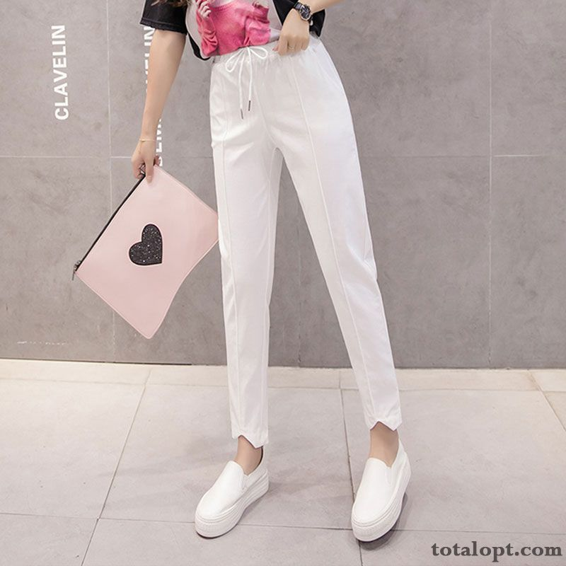 Harlan Elasticity High Waist Thin Leisure Trousers Spring Loose Fashion Pants White Summer Women's New Straight Offwhite Sky Blue For Sale