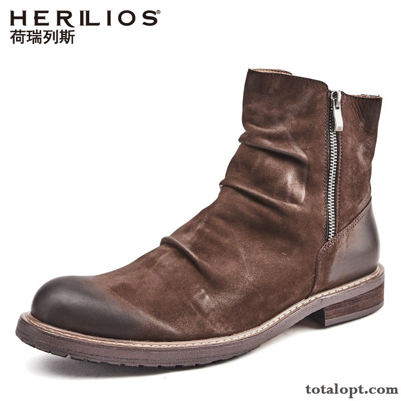 High Top British Knight Boots Thick Sole Retro Red Leather Shoes Martin Boots Men's Genuine Leather Brown Henna Lilac