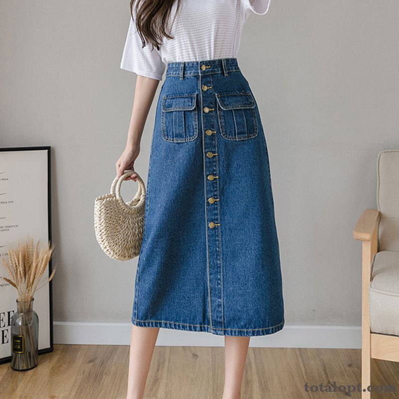 High Waist Long Skirt Sort Buttons A Letter New Spring Women's Dark Blue Summer Darkgray Rosybrown