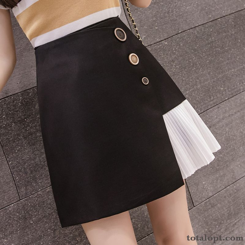High Waist New Black Pleated Pants A Letter Summer Sort Buttons Splicing Spring Short Skirts Women's Europe Darkgreen Lake