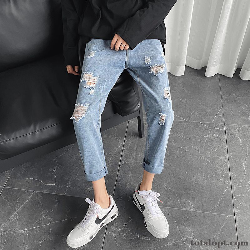 Hole Pants Loose Straight Europe Ninth Pants Trend Blue Leisure Men's Jeans Saddlebrown Skyblue Discount