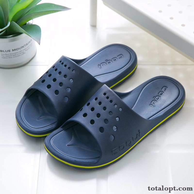 Home Lovers Soft Sole Anti-skid Bathroom Blue Slippers Indoor Men's Summer Thick Sole Navy White
