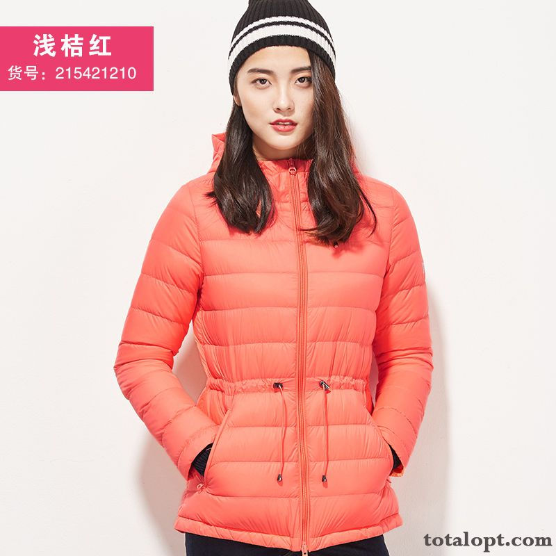 Hooded Slim Light Winter Europe Down Jacket Short Outdoor Women's New Grey Violet Snowy White