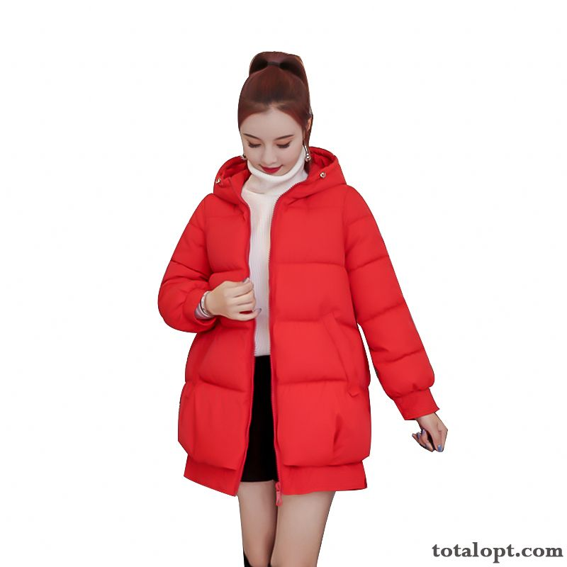 Hooded Thickening Women's Warm Loose Europe Long Section New Student Winter Cotton Red Garnet Sallow For Sale