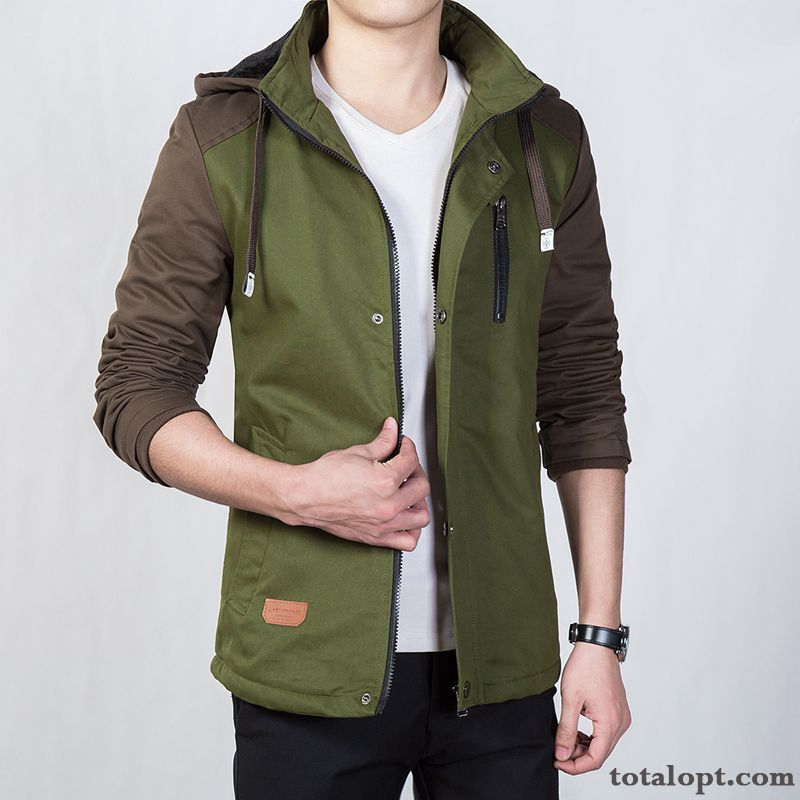 Hooded Youth New Jacket Men's Autumn Thickening Pure Cotton Winter Trend Plus Velvet Coat Spring Cream Plum