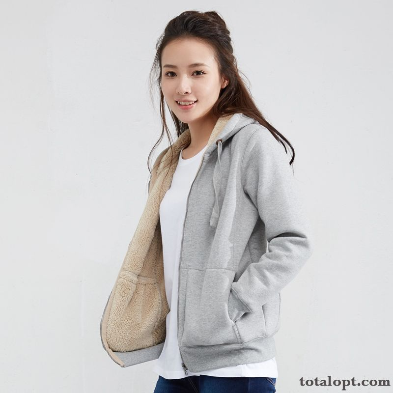 Hoodies Hooded Zipper Cardigan Coat Loose Women's Thickening Sport Pure Plus Velvet Autumn Cotton Winter Carbon Black Ocean Blue
