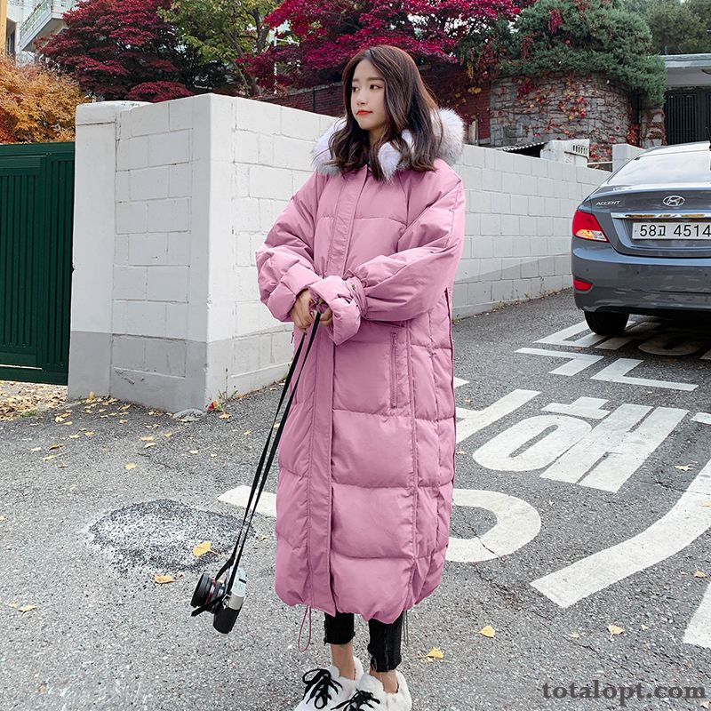 Hot Style Women's Cotton Pink Big Fur Collar Long Section Navy Blue Rose Violet Online