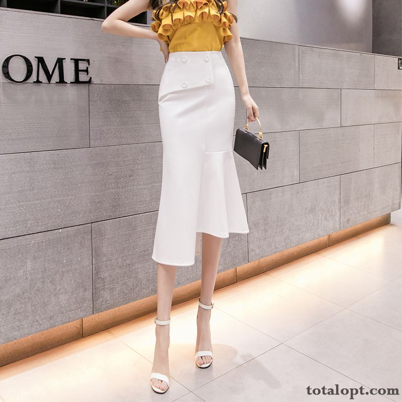 Irregular White Fishtail New Thin Long Skirt A Letter Women's Summer High Waist Powderblue Ivory White