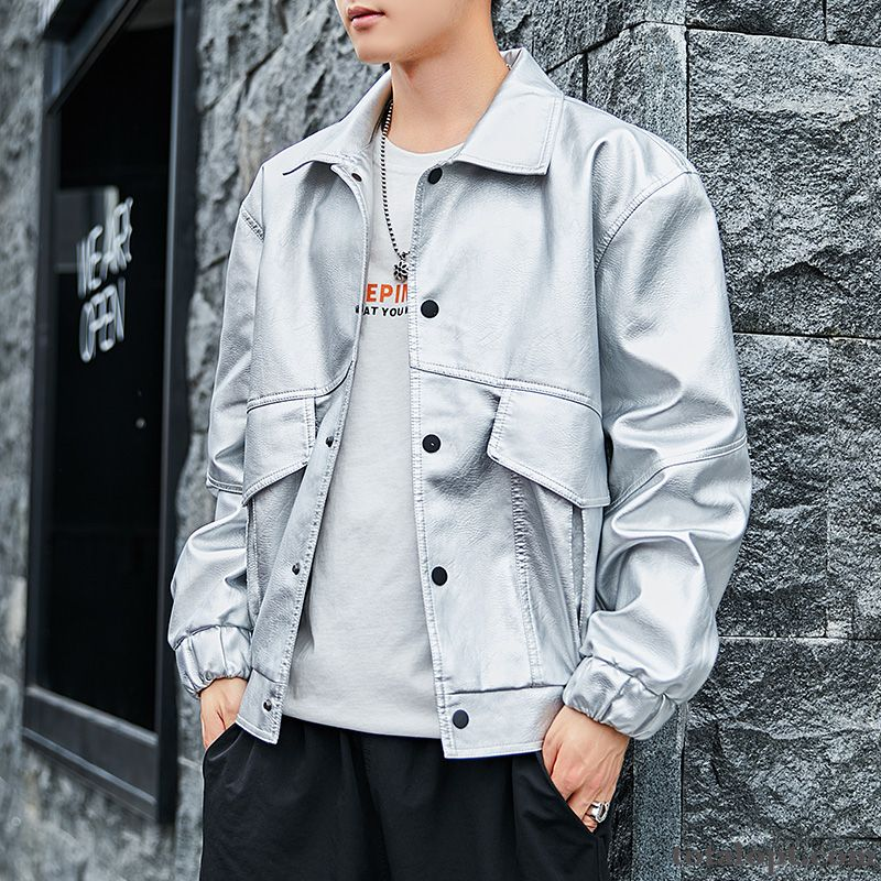 Jacket Europe Autumn Men's Red New Leather Youth White Coat Slim Spring Locomotive Trend Coral Maize