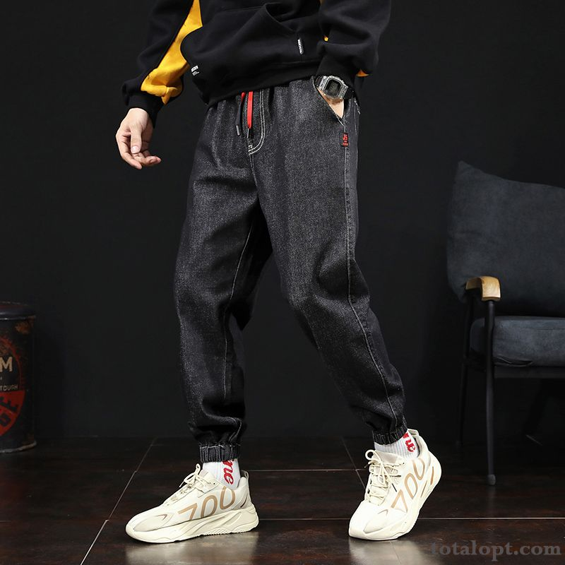 Jeans Pants All-match Tooling Harlan Leisure Loose Autumn Trend Europe Men's Black Blue Snow Discount