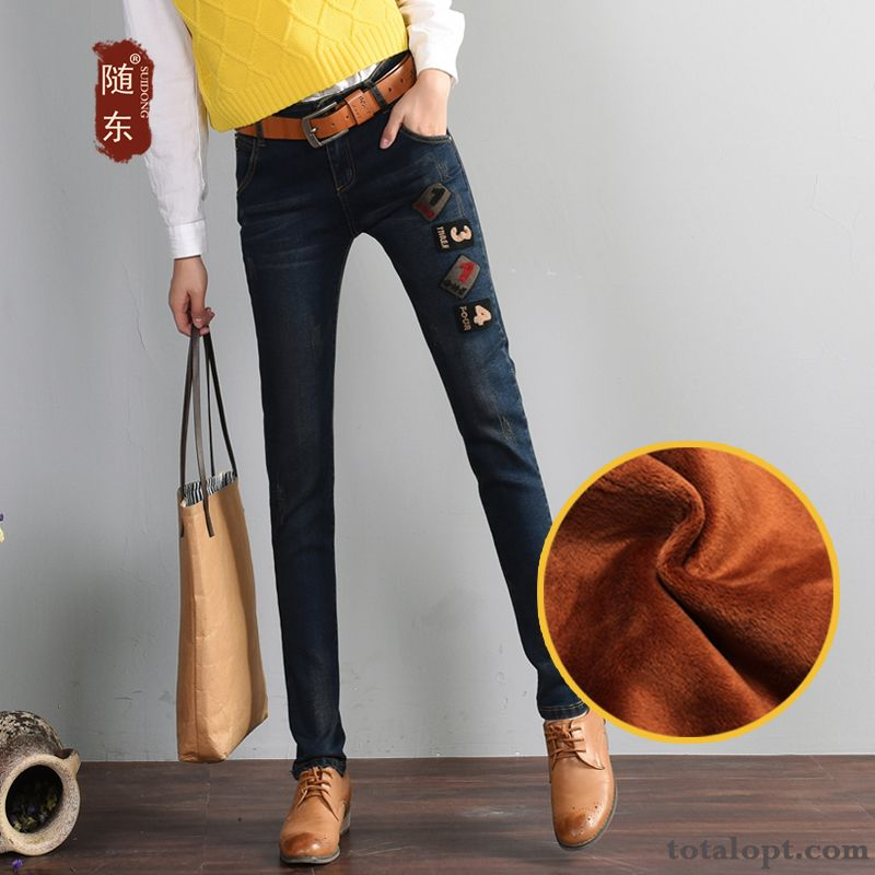 Jeans Thin Trend Elasticity Embroidery Student Winter Autumn Pencil Pants Skinny Trousers Women's Europe Blue Shocking Pink Sale