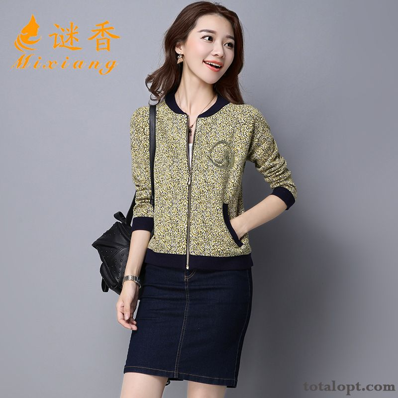 Knitting Jacket Long Sleeves Europe Autumn All-match Coat Spring Trend Short Cardigan Women's Shorts New Gray Ivory For Sale