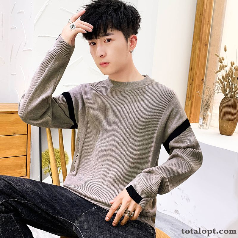 Knitwear Sweater Europe Autumn Trend Slim New Men's Bottoming Shirt Long Sleeves Round Neck Yellow Green All White For Sale