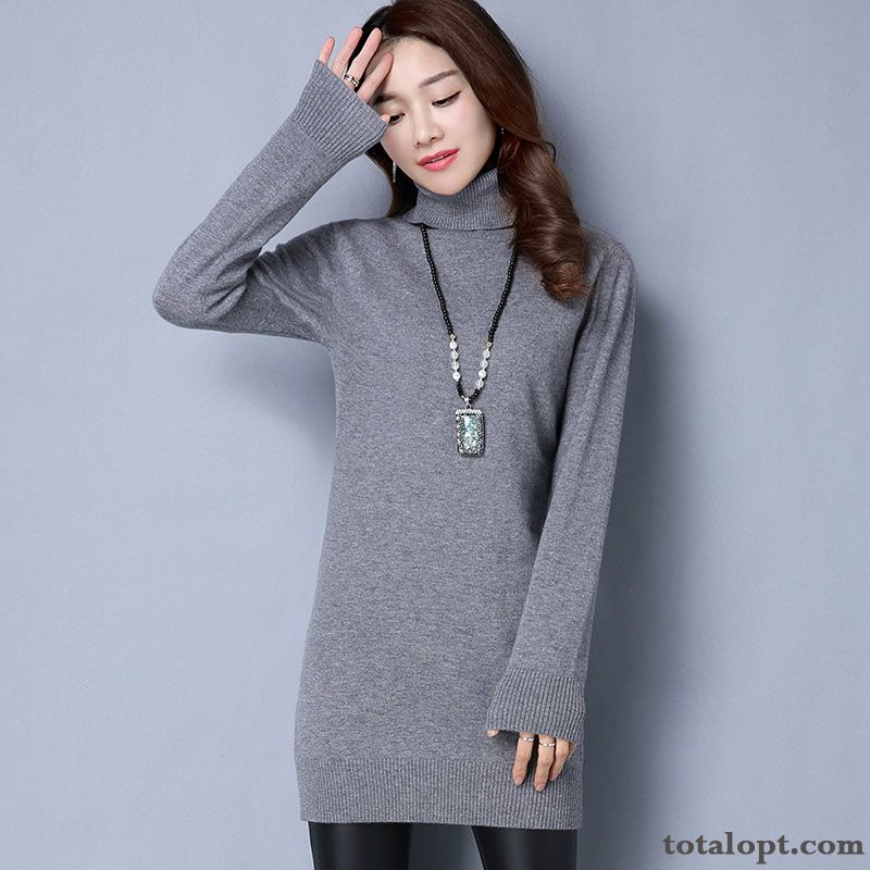 Knitwear Sweater Winter Pullovers Thin Long Section Pure Bottoming Shirt Women's Long Sleeves New Slim Wool Khaki Gold