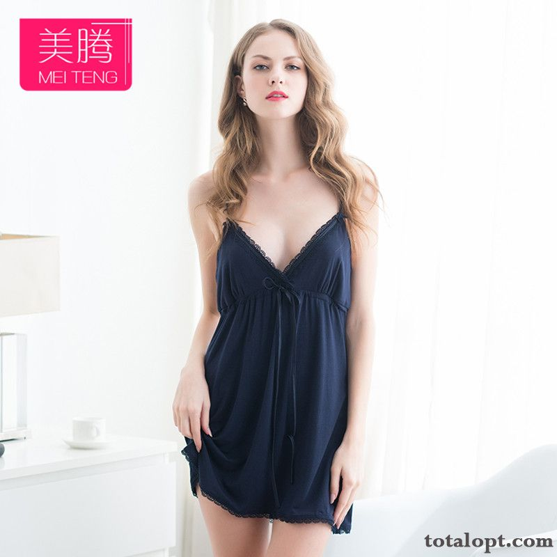 Lace Large Size Camisole Vest V-neck Women's Pajamas Summer Sexy Robes Loose Skinny Grey Nude Online