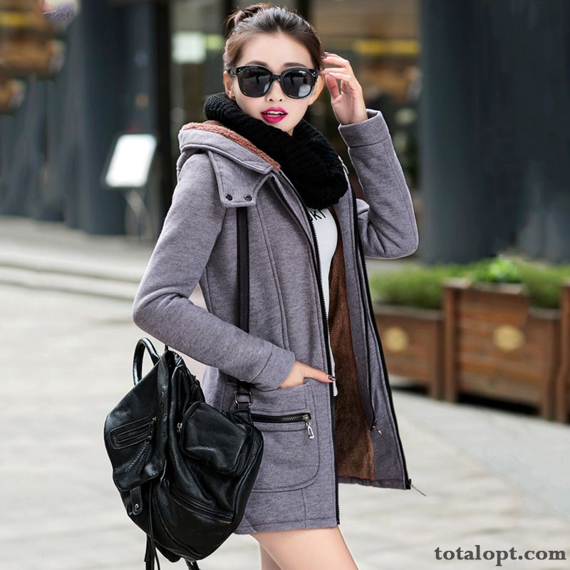 Large Size Hoodies Long Section New Products Cardigan Plus Velvet Leisure Thickening Women's Coat Autumn Winter Clothes Breen Paleturquoise Sale